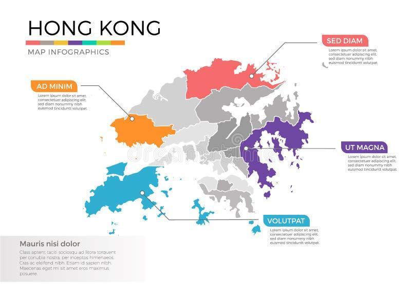 香港地图infographics与地区和尖标记的传染媒介模板 皇族释放例证