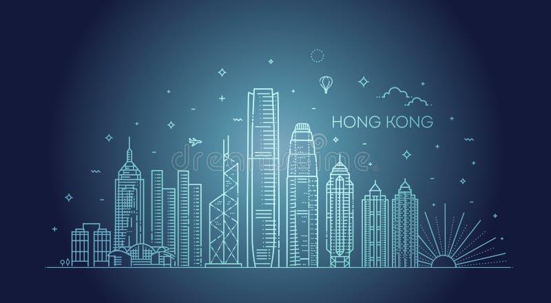 香港地平线,在线性样式的传染媒介例证 皇族释放例证