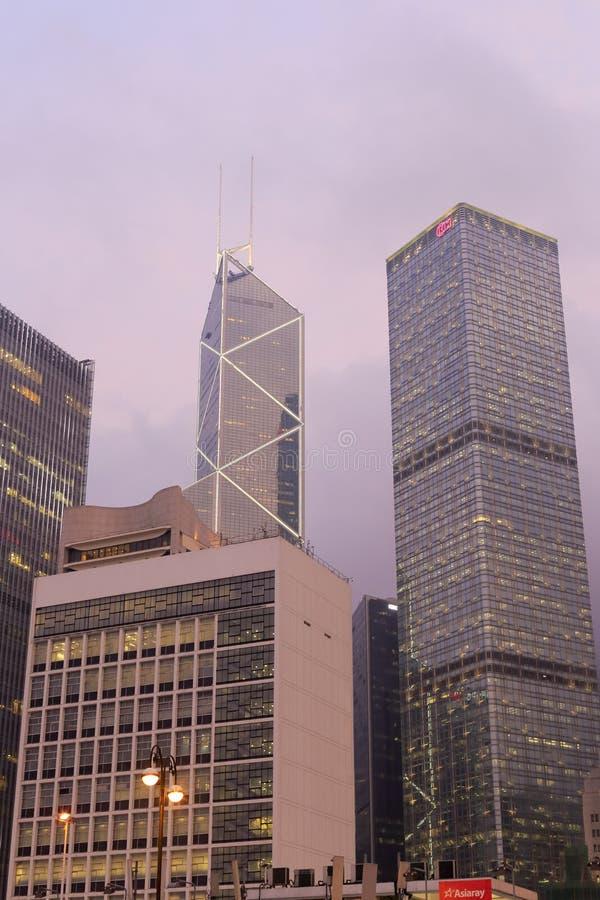 香港夜场面中央  库存照片