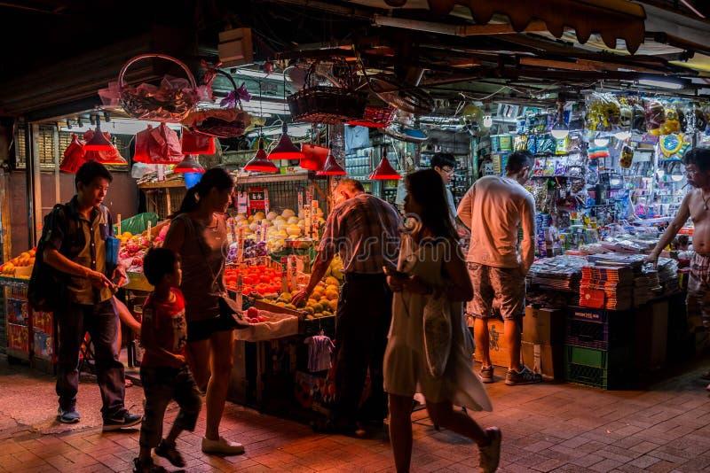 香港夜市场 免版税库存照片