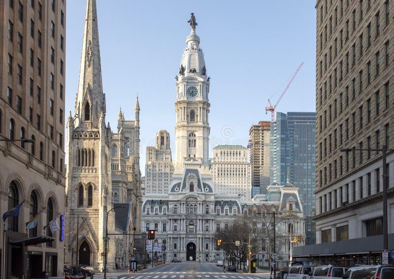 香港大会堂,费城,从北部宽敞的大街的宾夕法尼亚 图库摄影