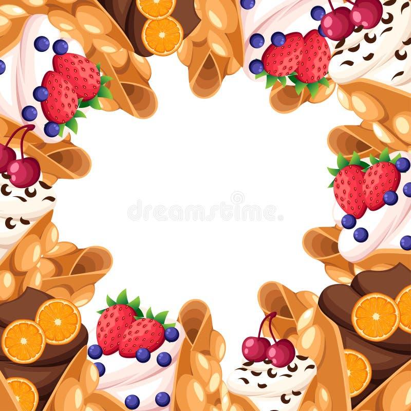 香港奶蛋烘饼的样式与樱桃草莓橙色和被鞭打的或者巧克力奶油色蛋奶蛋烘饼点心传染媒介例证的是 向量例证