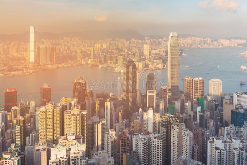 香港市企业街市结束海港 库存图片