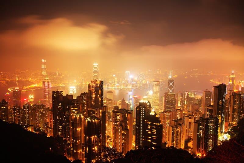香港市在晚上 免版税库存照片