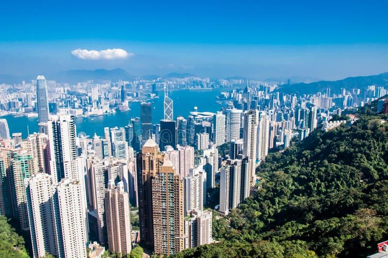 香港市地平线天从太平山的时间viewin 图库摄影