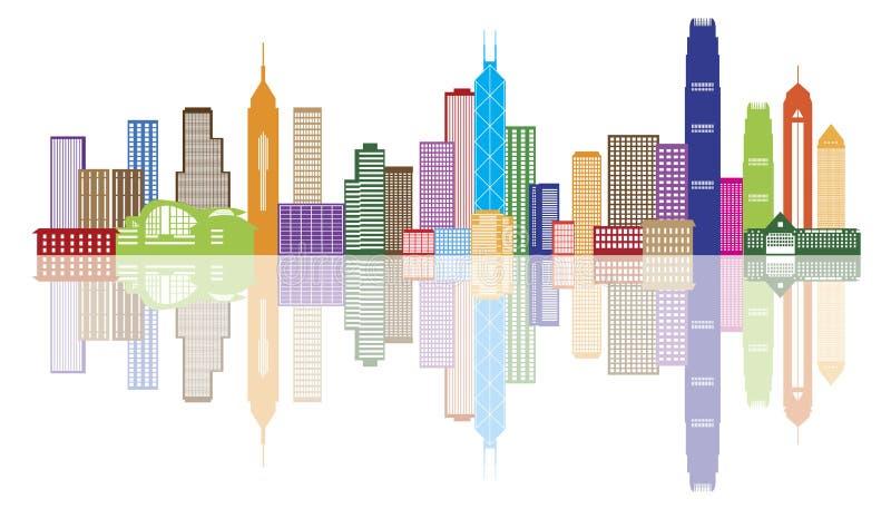 香港市地平线颜色全景传染媒介例证 向量例证