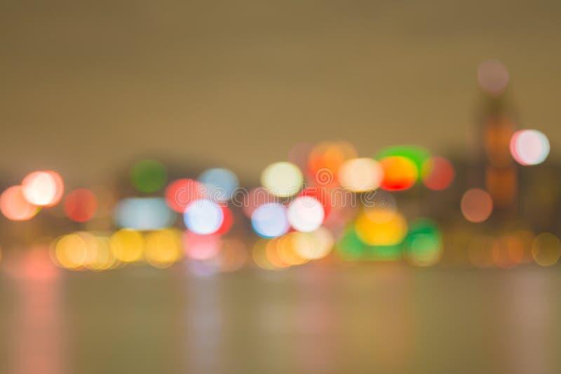 香港市夜生活被弄脏的Defocused光  库存照片