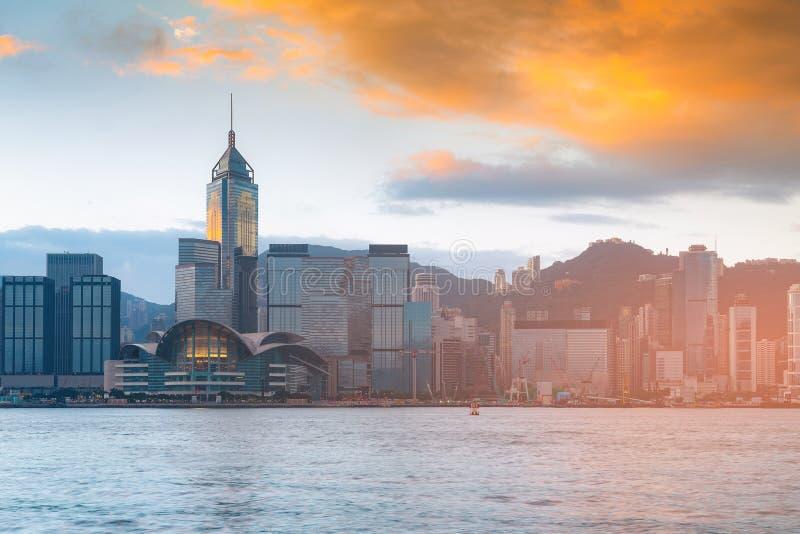 香港市政厅大厦事务街市在日出期间 免版税图库摄影