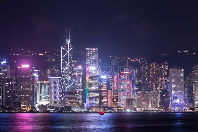 香港市,从维多利亚港口的看法 免版税库存照片
