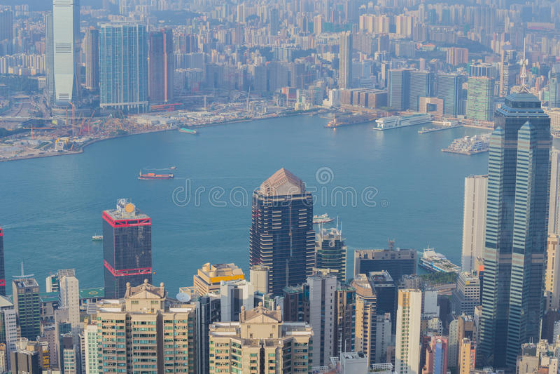 香港市,从峰顶的看法 免版税库存照片