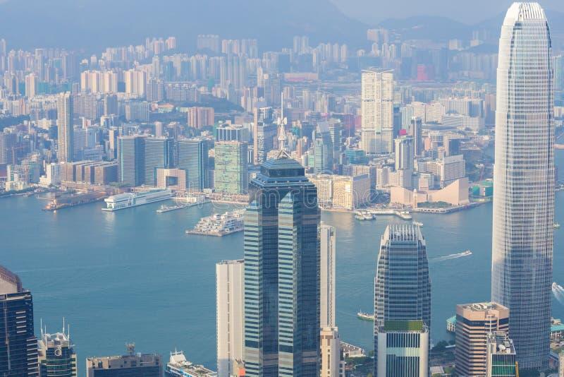 香港市,从峰顶的看法 图库摄影