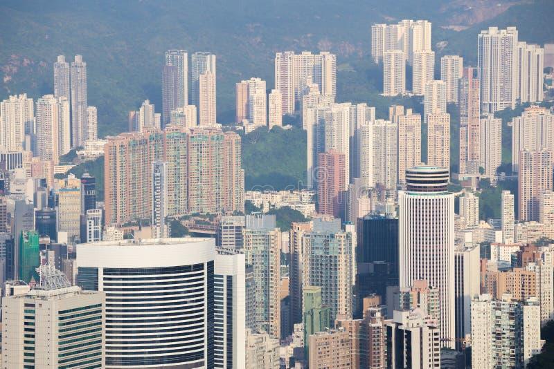 香港市,从峰顶的看法 库存照片