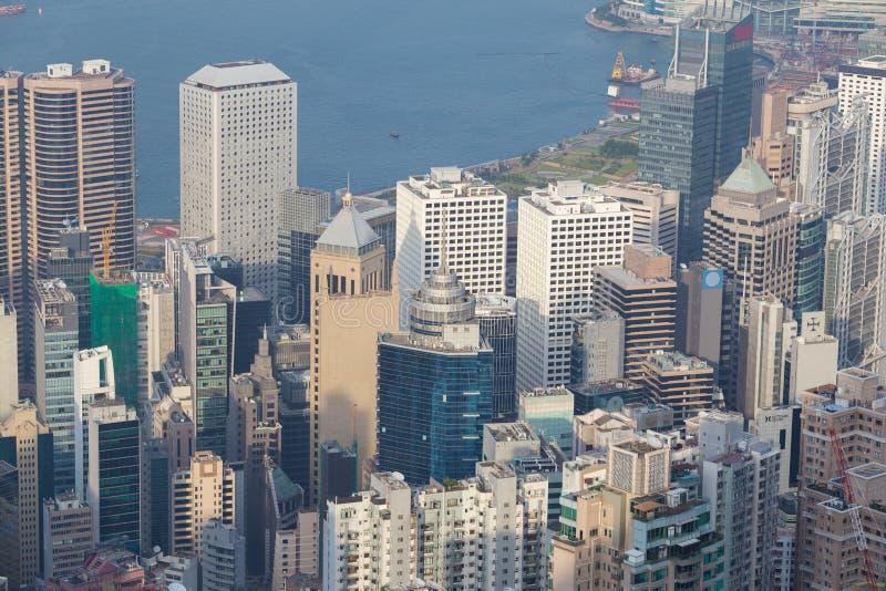 香港市,从峰顶的看法 库存图片
