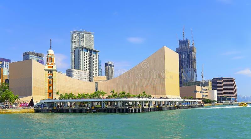 香港文化中心&钟楼 免版税库存照片