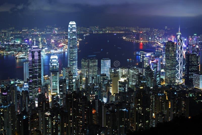 香港晚上场面 库存图片