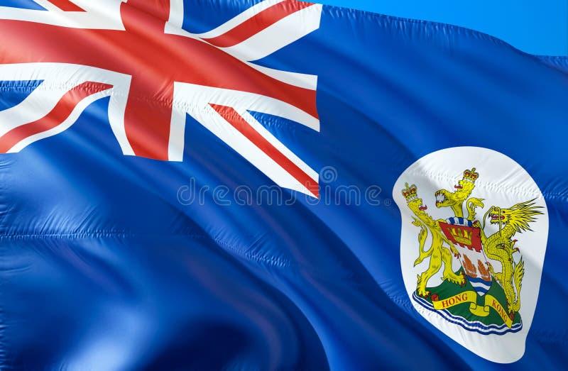 香港殖民地时期旗子 3D挥动的旗子设计 香港殖民地时期的国家标志,3D翻译 国家标志  库存例证