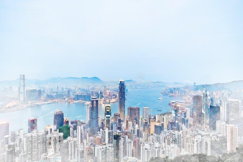 香港混合手拉的剪影例证全景现代都市风景大厦视图  向量例证
