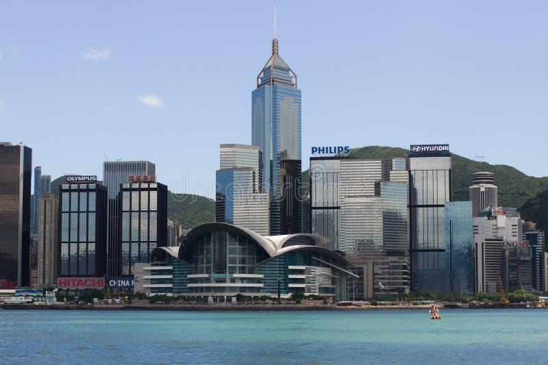 香港港口在蓝天下 免版税图库摄影