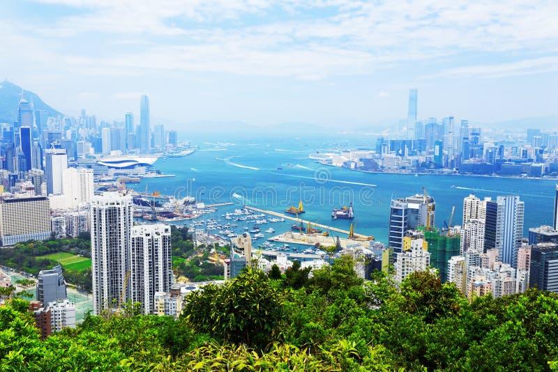 香港港口鸟瞰图  免版税库存图片