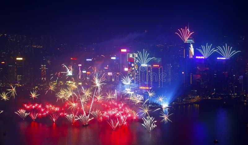 香港烟花2014年 库存照片