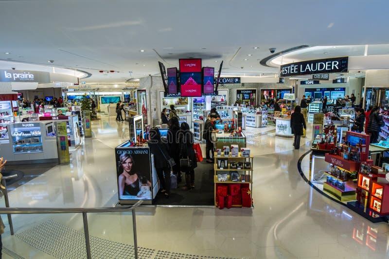 香港瓷:化妆用品柜台 免版税库存图片