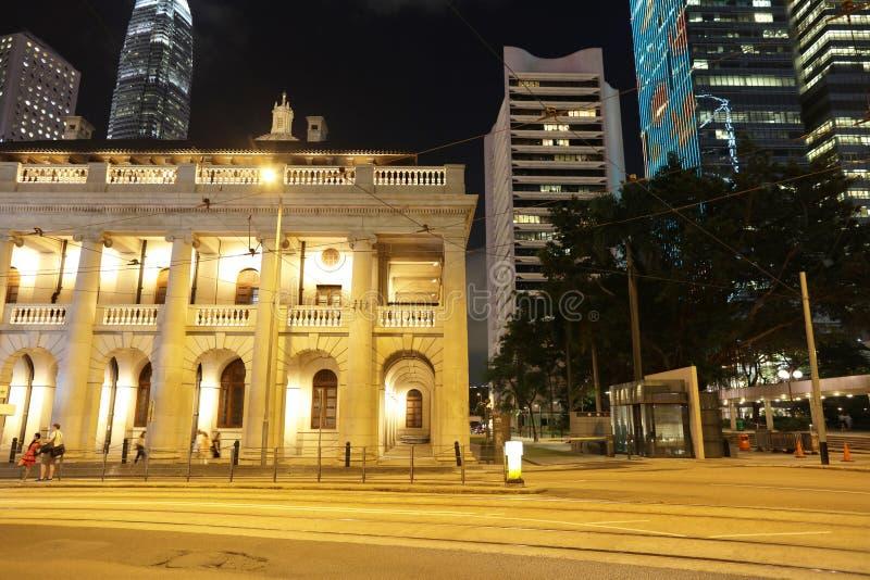 香港立法会大楼的夜视图 免版税图库摄影
