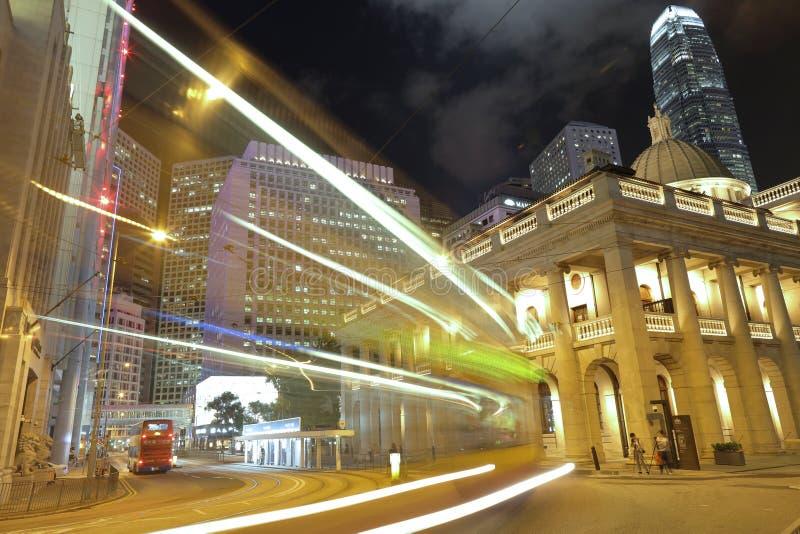 香港立法会大楼的夜视图 库存照片