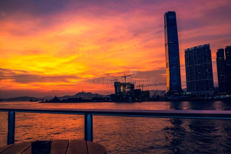 香港维多利亚港日落  免版税库存图片