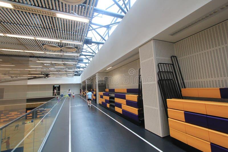 香港羽毛球大厅在吊Hau体育中心 图库摄影