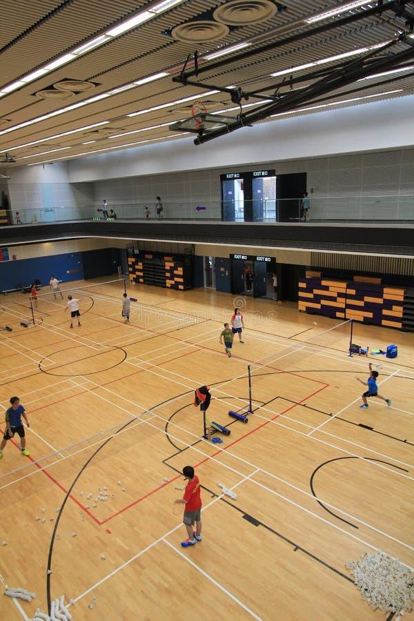 香港羽毛球大厅在吊Hau体育中心 库存照片