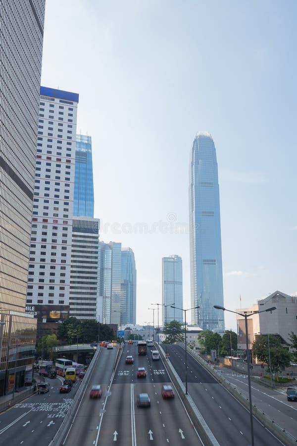 香港街道市和交通在天时间的 免版税库存照片