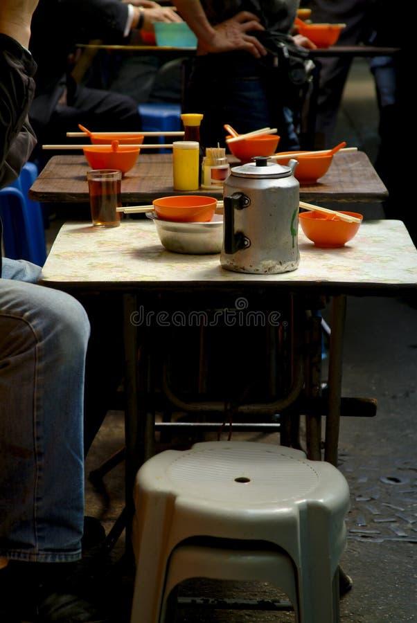 香港街餐馆表 库存图片