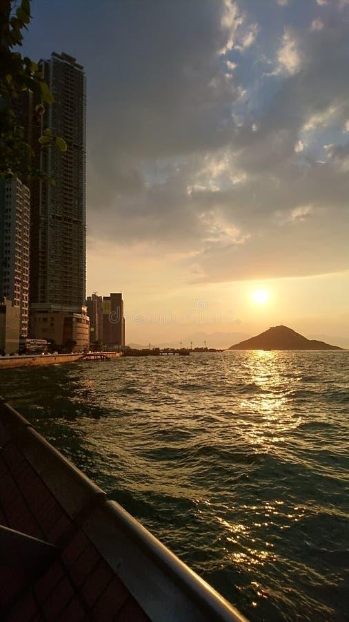 香港西部日落日出 库存图片
