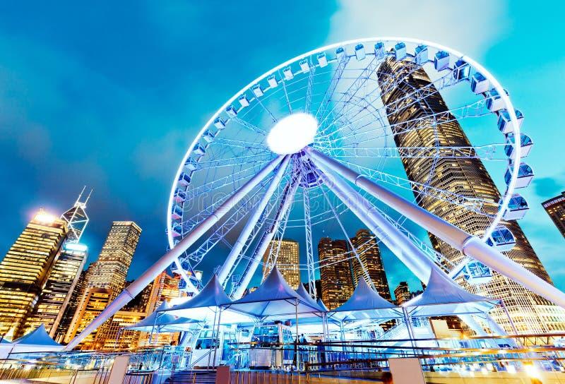 香港观察轮子在晚上 免版税库存照片