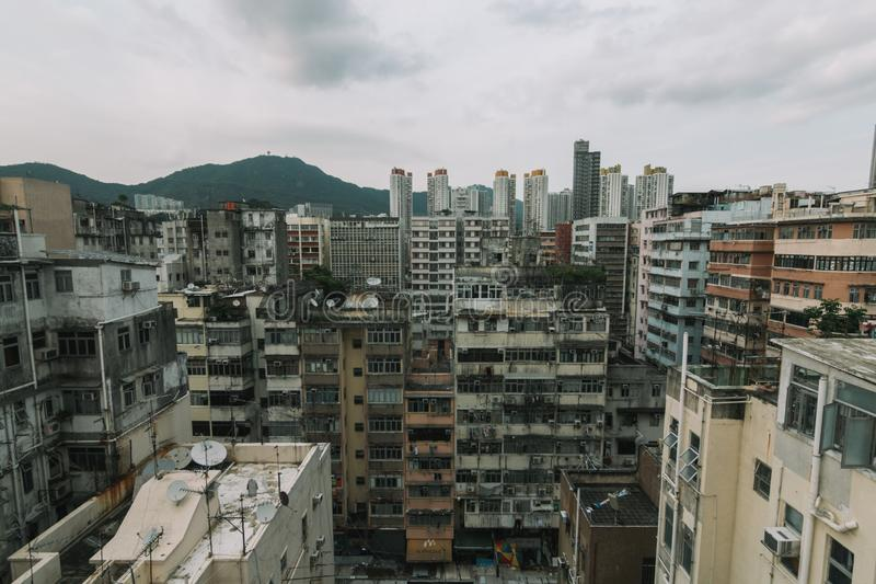 香港过度了拥挤大厦 库存照片