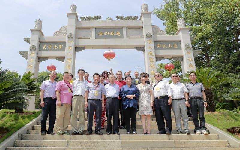 香港道士协会代表团参观了厦门qingjiao cijigong宫殿 库存照片