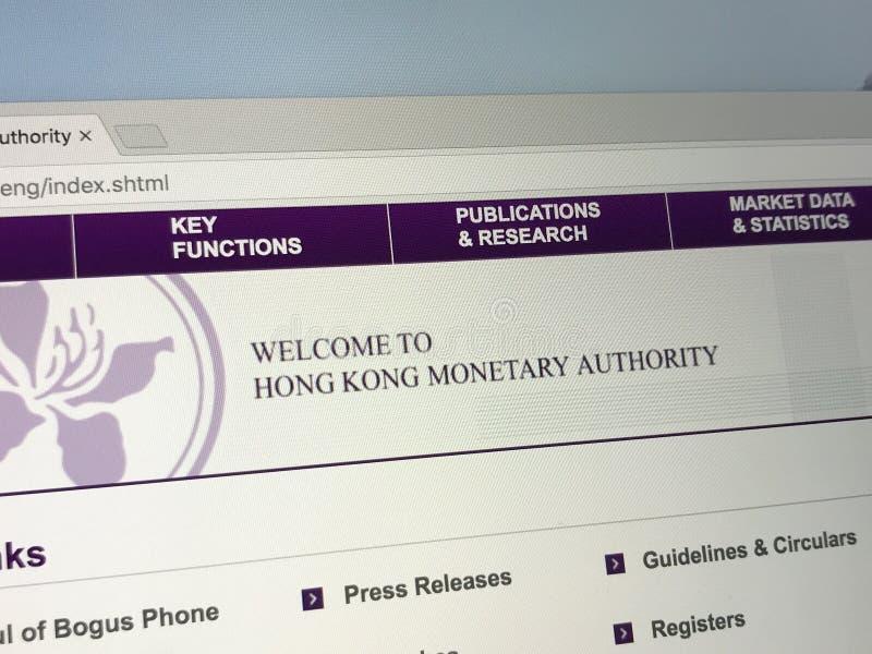 香港金融管理局HKMA的主页 库存照片