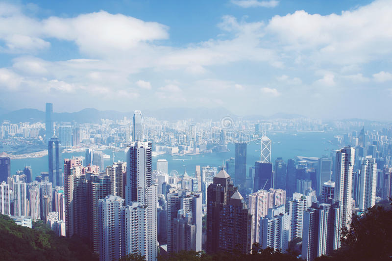 香港鸟瞰图全景 免版税库存照片