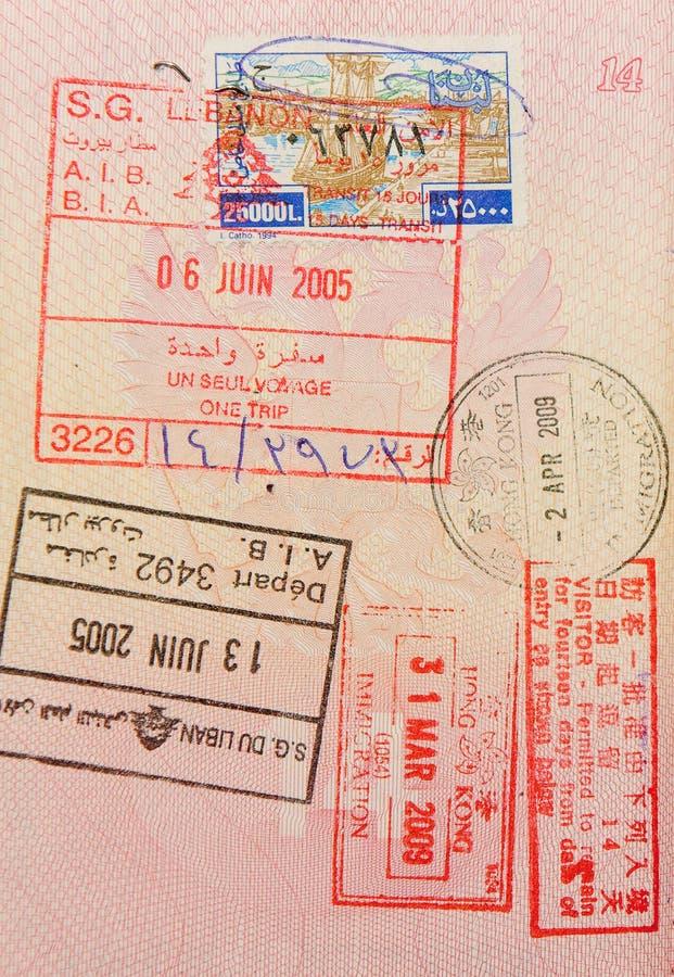 香港黎巴嫩护照印花税 免版税图库摄影