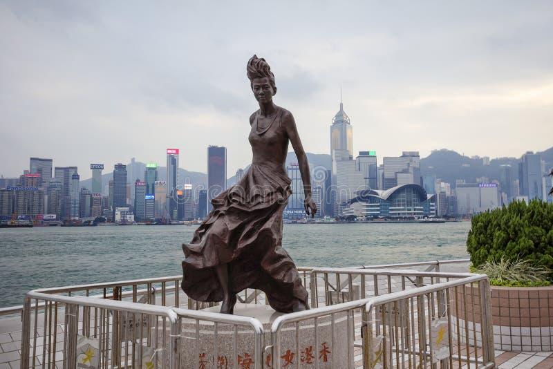 香港,中国,维多利亚港口江边,女演员梅艳芳的雕象 库存图片