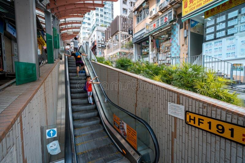 香港,中国-中央中间级自动扶梯 免版税库存照片