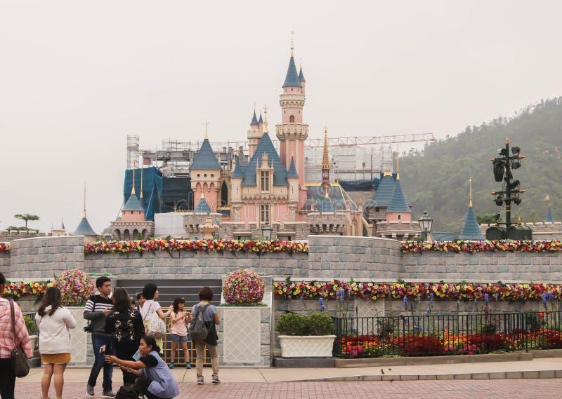 香港,中国- 2019年3月30日特写镜头迪斯尼城堡在2019年3月30日的香港, 免版税库存图片