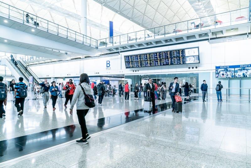 香港,中国- 2019年2月20日:到来霍尔在香港国际机场 它处理7000万多位乘客每 库存照片
