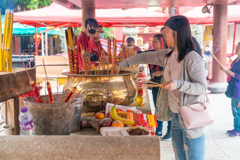 香港,中国- 2019年2月20日:Che Kung寺庙看法在香港,中国 Che Kung寺庙是地标和普遍的游人 免版税图库摄影
