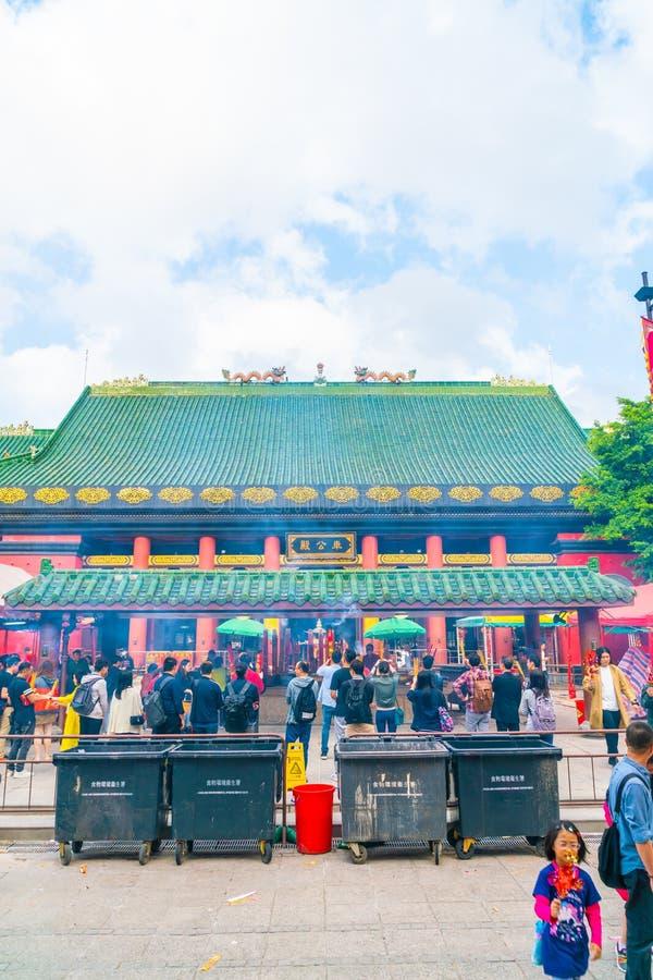香港,中国- 2019年2月20日:Che Kung寺庙看法在香港,中国 Che Kung寺庙是地标和普遍的游人 图库摄影