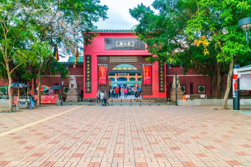 香港,中国- 2019年2月20日:Che Kung寺庙看法在香港,中国 Che Kung寺庙是地标和普遍的游人 免版税库存图片
