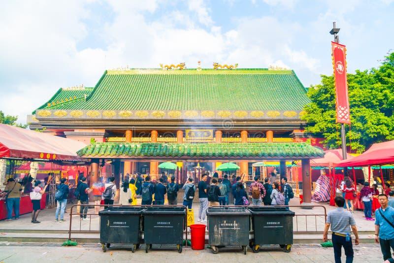 香港,中国- 2019年2月20日:Che Kung寺庙看法在香港,中国 Che Kung寺庙是地标和普遍的游人 库存图片