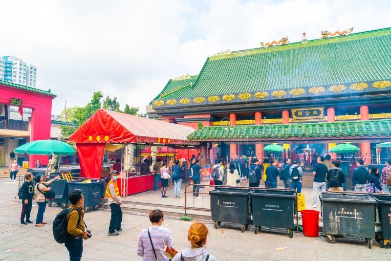 香港,中国- 2019年2月20日:Che Kung寺庙看法在香港,中国 Che Kung寺庙是地标和普遍的游人 免版税库存照片