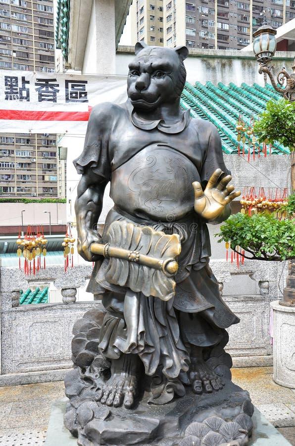 香港,中国- 2014年6月25日:中国黄道带古铜老虎St 库存图片