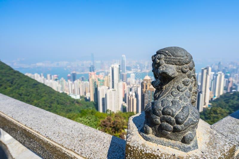 香港,城市和海湾的看法从太平山 免版税库存照片